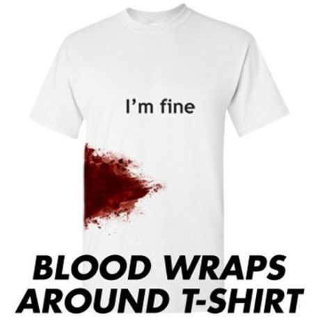I'M FINE Funny Zombie Slash Movie Gag Gift Injury Blood Very Funny T Shirt