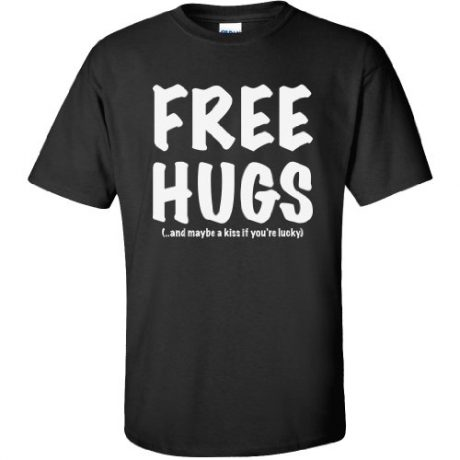 FREE HUGS Short Sleeve T-Shirt in Black