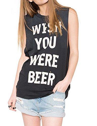 Allegrace Women Wide Cuff Sleeveless Cool Tank Top Funny Printed Juniors T Shirt