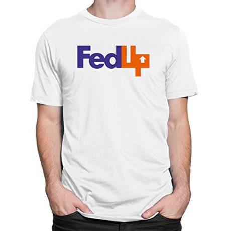 FedUp Mens Tee Funny FedEx Logo Spoof Swag T-shirt White, Heather Grey S-3XL